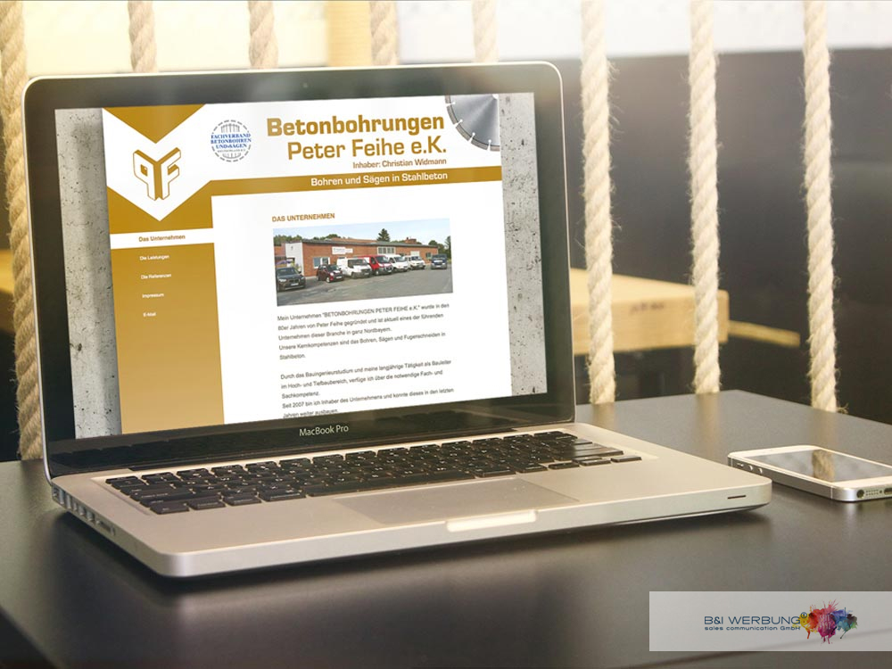 WEBDESIGN | Betonbohrungen Peter Feihe - Weiden